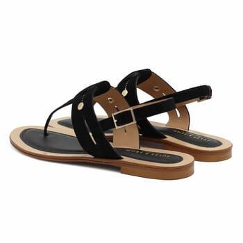 vue arriere sandales tropeziennes cuir daim noir