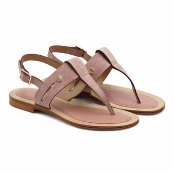 sandales tropeziennes cuir daim rose jules & jenn
