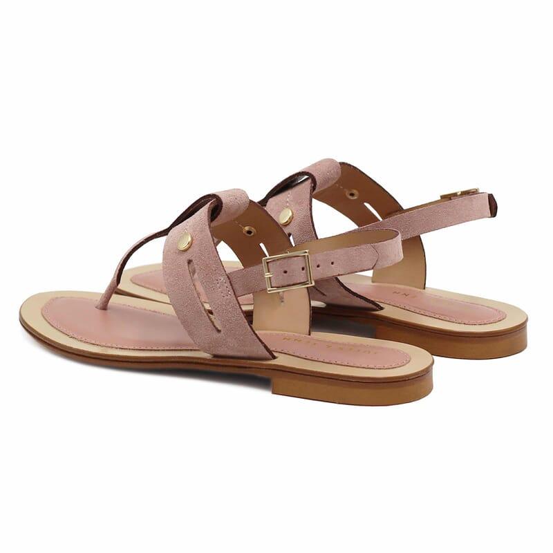 vue arriere sandales tropeziennes cuir daim rose