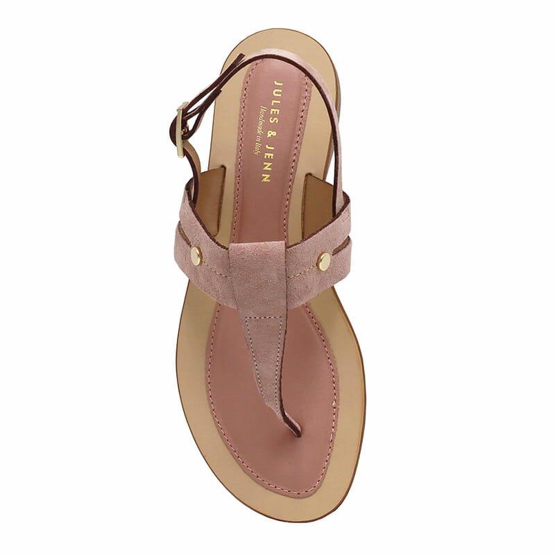 vue dessus sandales tropeziennes cuir daim rose