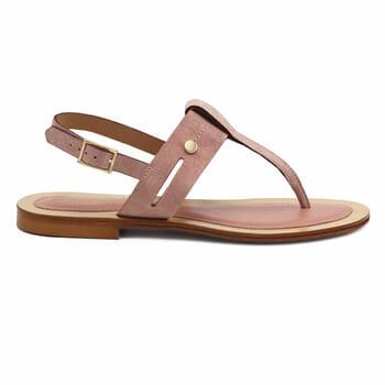 vue exterieure sandales tropeziennes cuir daim rose