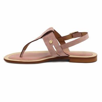 vue interieure sandales tropeziennes cuir daim rose