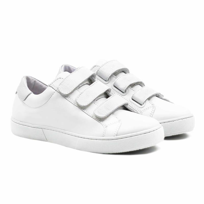 baskets a scratch cuir blanc