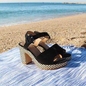 vue posee sandales compensees cuir daim noir jules & jenn