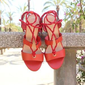 vue extérieur posée sandales hautes lacees cuir corail jules & jenn