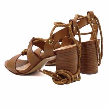 vue arriere sandales hautes lacees cuir camel jules & jenn