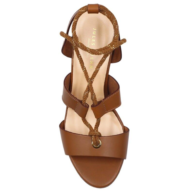 vue dessus sandales hautes lacees cuir camel jules & jenn