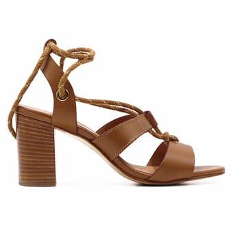 vue exterieure sandales hautes lacees cuir camel jules & jenn