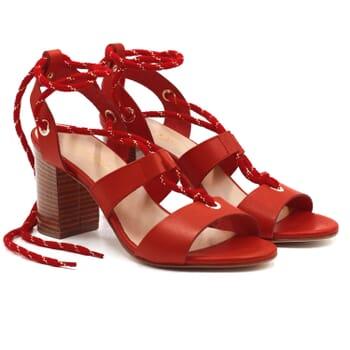 sandales hautes lacees cuir corail jules & jenn