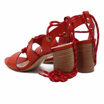 vue arriere sandales hautes lacees cuir corail jules & jenn