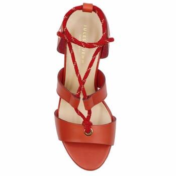 vue dessus sandales hautes lacees cuir corail jules & jenn