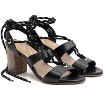 sandales hautes lacees cuir noir jules & jenn