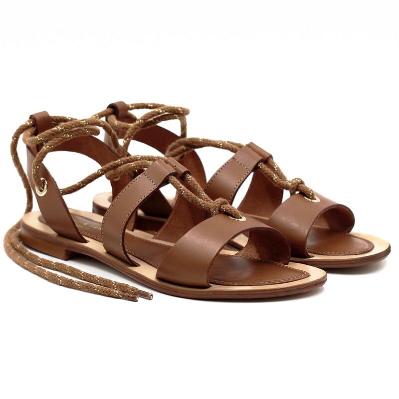 sandales plates lacees cuir corail jules & jenn