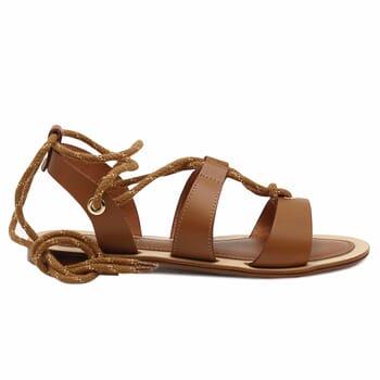 vue exterieure sandales plates lacees cuir camel jules & jenn