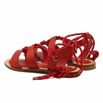 vue arriere sandales plates lacees cuir corail jules & jenn