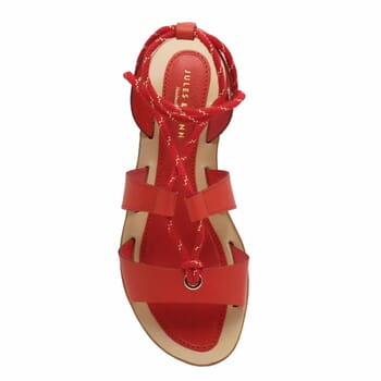 vue dessus sandales plates lacees cuir corail jules & jenn