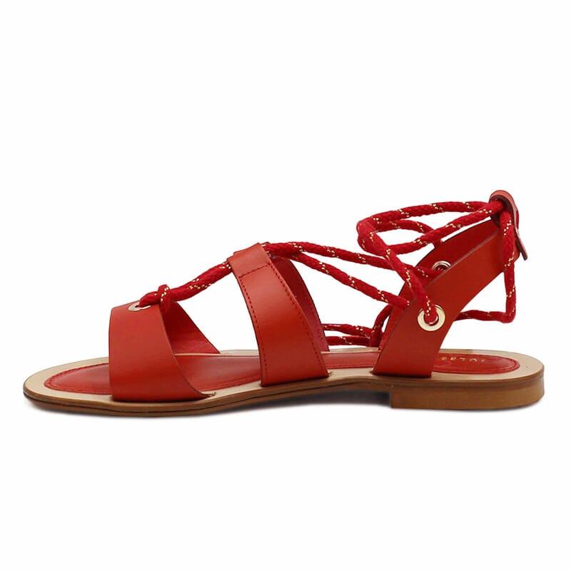 vue interieure sandales plates lacees cuir corail jules & jenn