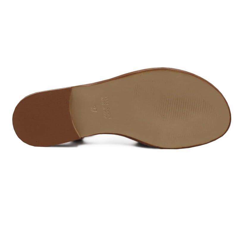 vue dessous sandales plates lacees cuir corail jules & jenn