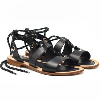 sandales plates lacees cuir noir jules & jenn