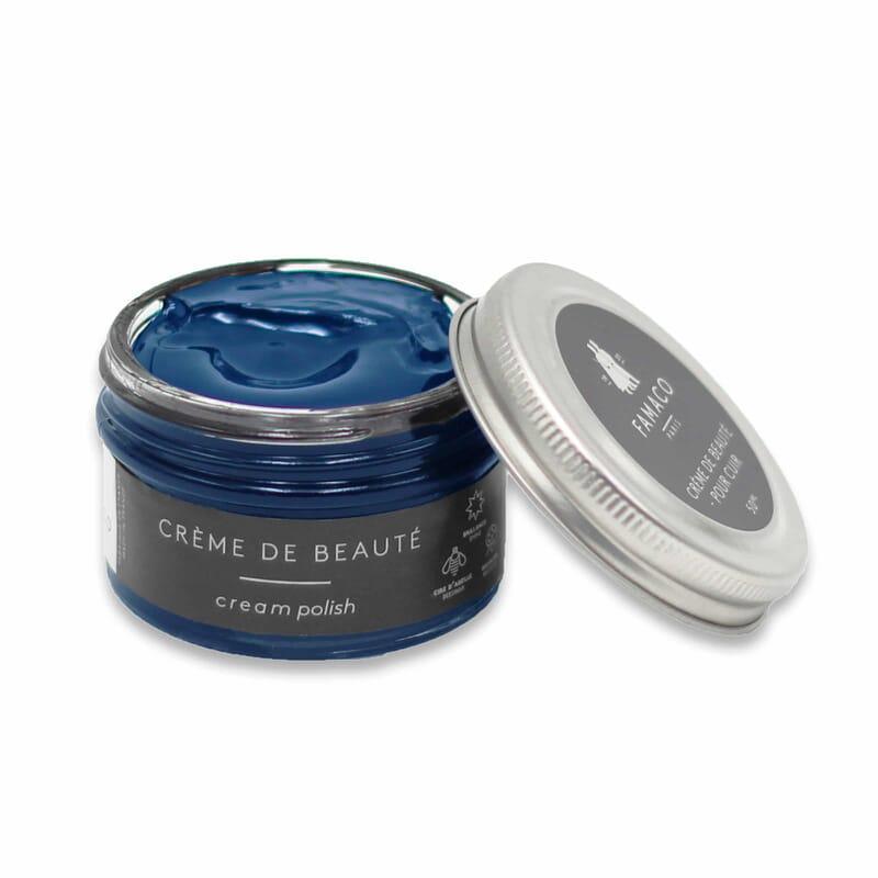 Vue ouverte cirage pour cuir bleu marine Famaco JULES & JENN
