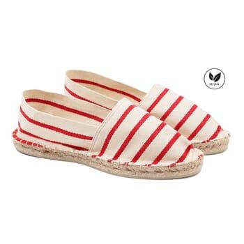 espadrilles toile de coton blanc & rouge jules & jenn