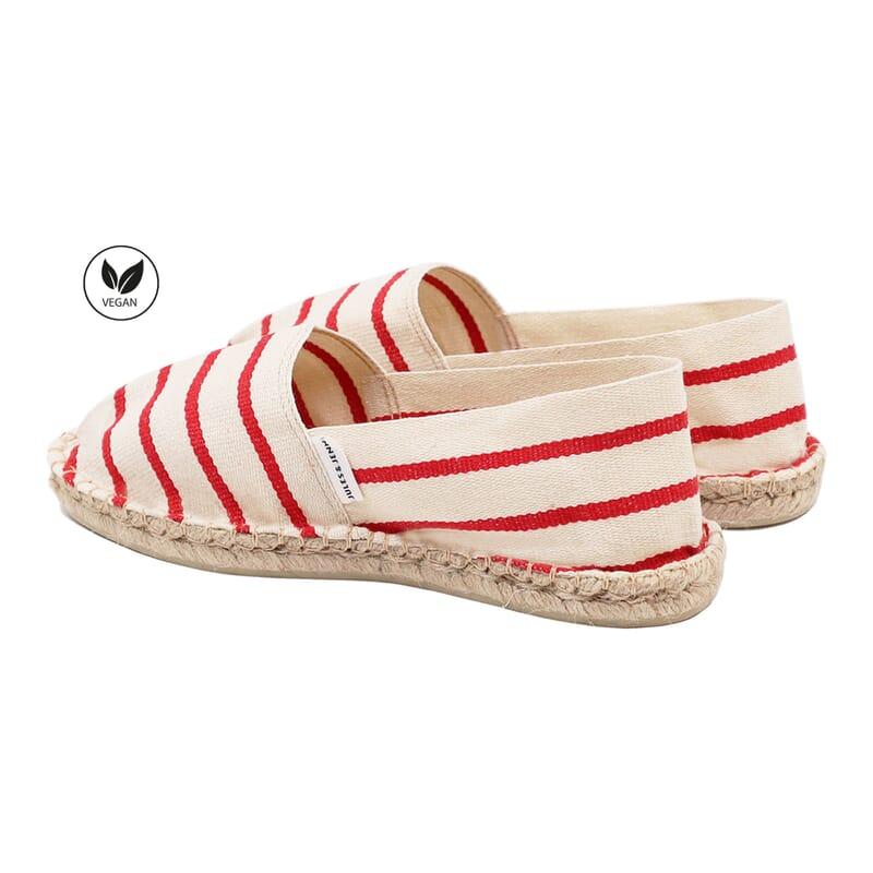 vue arriere espadrilles toile de coton blanc & rouge jules & jenn