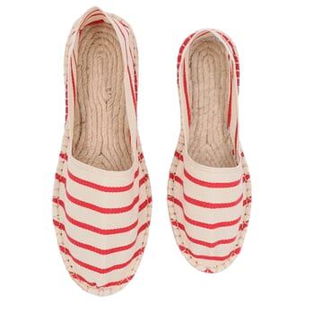 vue dessus espadrilles toile de coton blanc & rouge jules & jenn