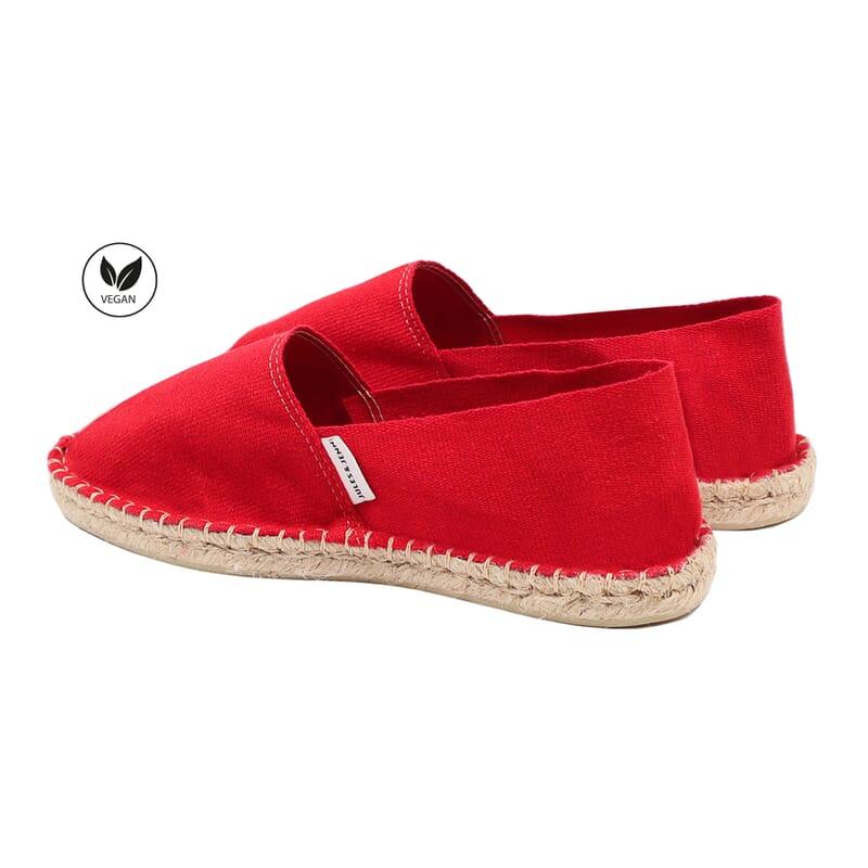 vue arriere espadrilles toile de coton rouge jules & jenn