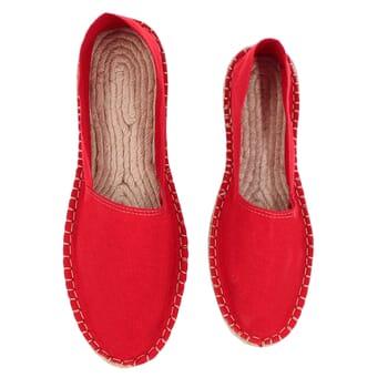 vue dessus espadrilles toile de coton rouge jules & jenn