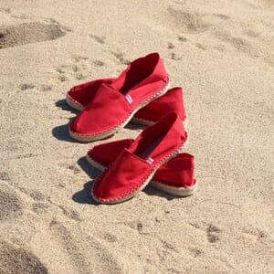 vue posee espadrilles toile de coton rouge jules & jenn