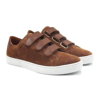 baskets à scratch cuir daim marron clair jules & jenn