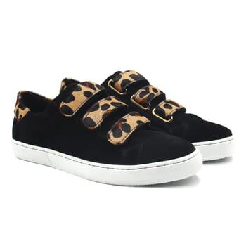 baskets a scratch cuir daim noir et leopard jules & jenn