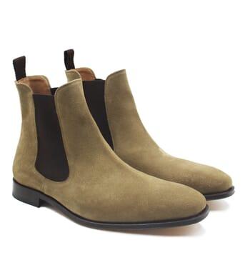 chelsea boots cuir daim beige jules & jenn