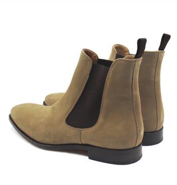 vue arriere chelsea boots cuir daim beige jules & jenn