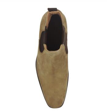 vue dessus chelsea boots cuir daim beige jules & jenn