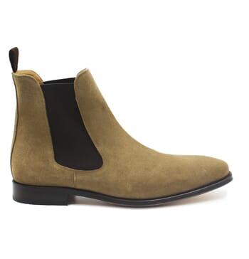 vue exterieure chelsea boots cuir daim beige jules & jenn