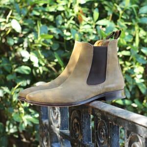 vue posee chelsea boots cuir daim beige jules & jenn