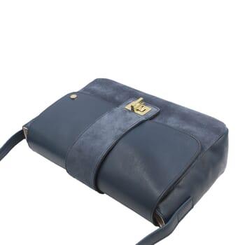 vue dessus sac bandouliere cuir daim bleu jules & jenn