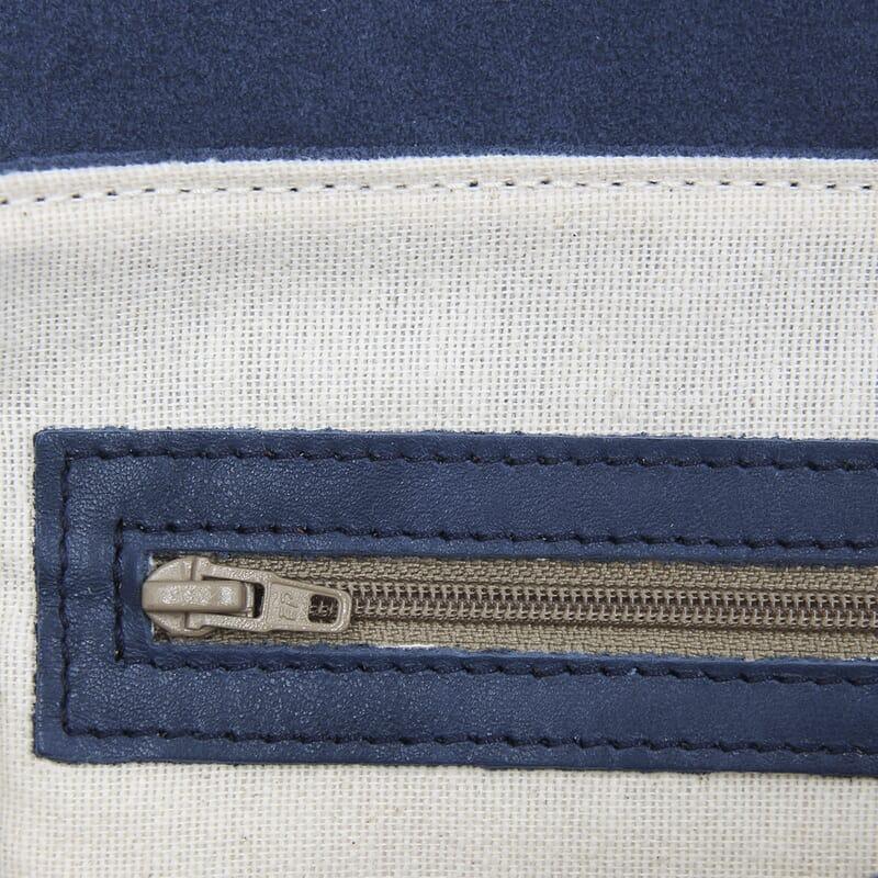 vue interieur sac bandouliere cuir daim bleu jules & jenn