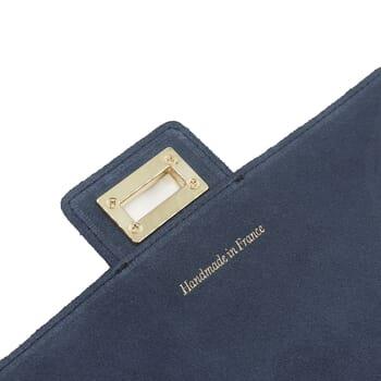 vue rabat sac bandouliere cuir daim bleu jules & jenn