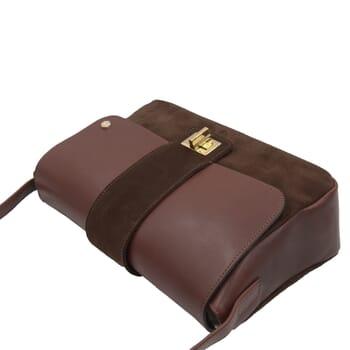 vue dessus sac bandouliere cuir daim marron jules & jenn