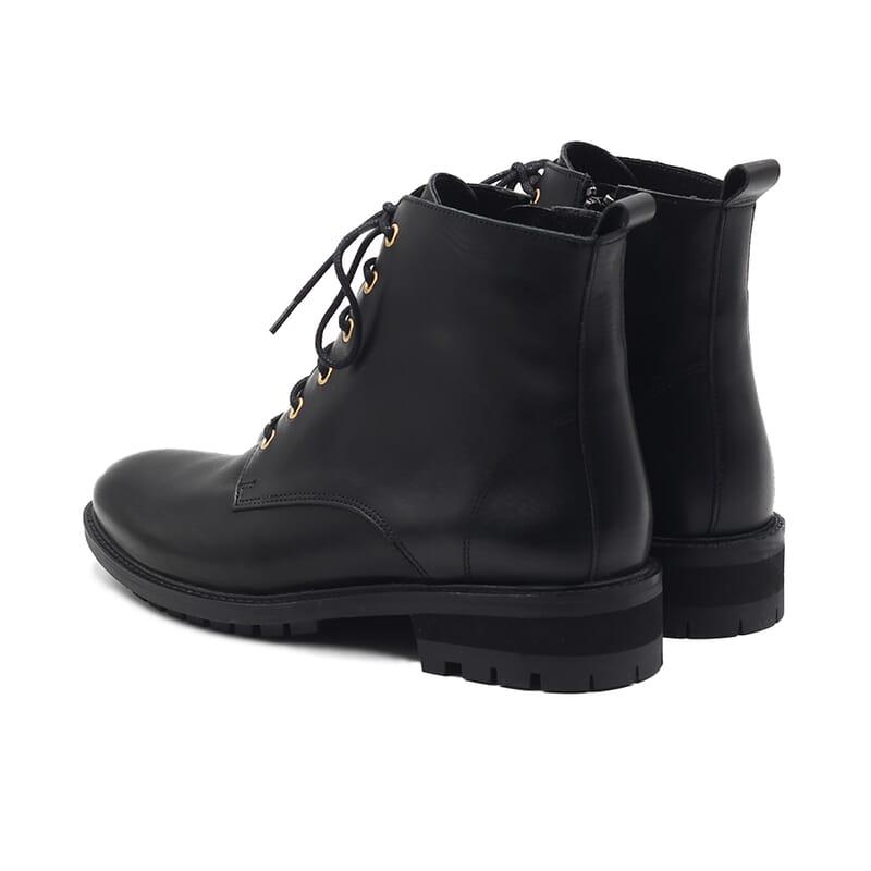 vue arriere bottines plates a lacets cuir noir jules & jenn