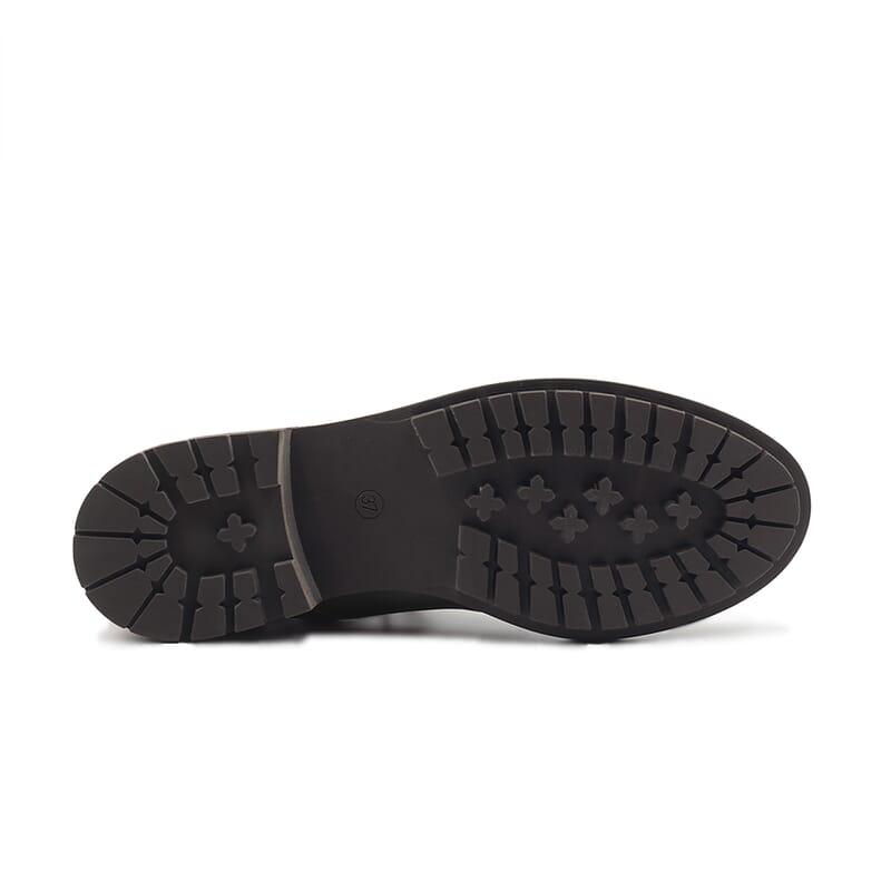 vue dessous bottines plates a lacets cuir noir jules & jenn