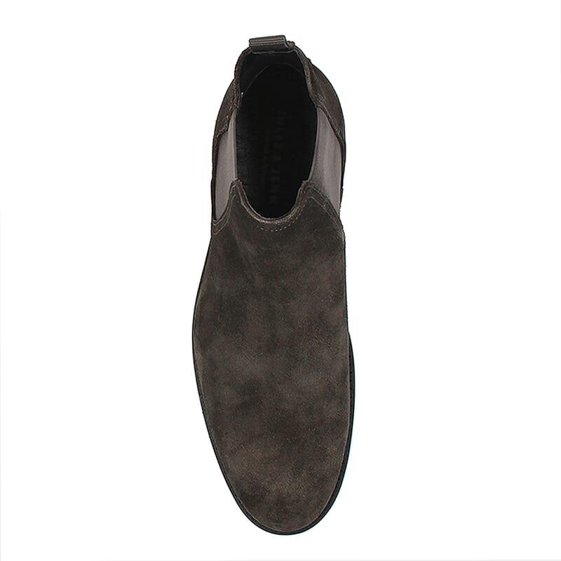 vue dessus chelsea boots basse homme cuir daim gris jules & jenn
