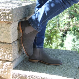 vue portee chelsea boots basse homme cuir daim gris jules & jenn