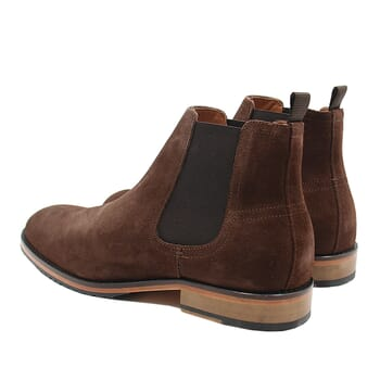 vue arriere chelsea boots basse homme cuir daim marron jules & jenn