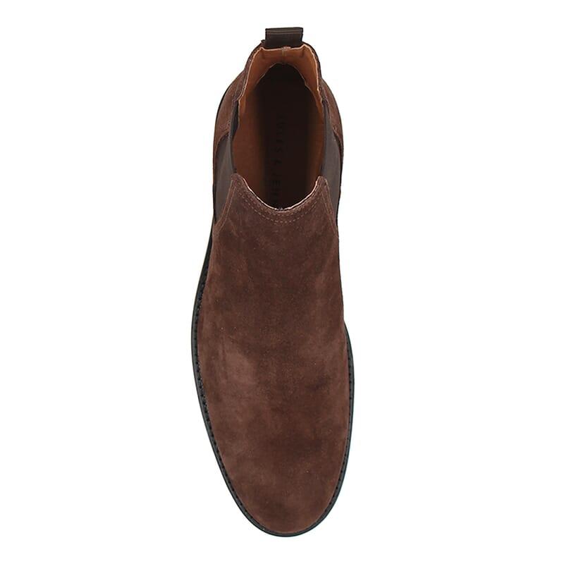 vue dessus chelsea boots basse homme cuir daim marron jules & jenn