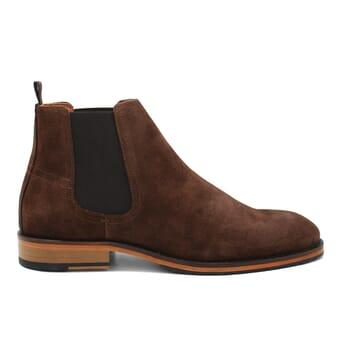 vue exterieur chelsea boots basse homme cuir daim marron jules & jenn