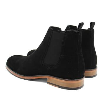 vue arriere chelsea boots basse homme cuir daim noir jules & jenn