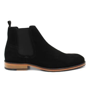vue exterieur chelsea boots basse homme cuir daim noir jules & jenn